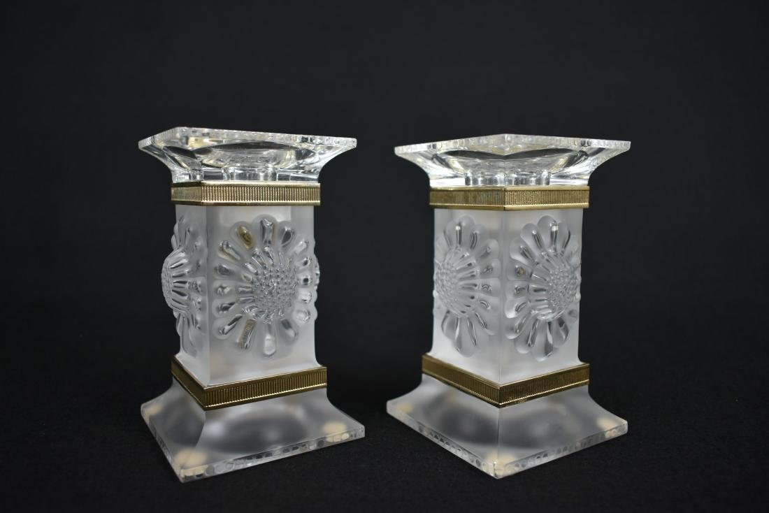 PR LALIQUE GILT MOUNTED FROSTED GLASS CANDLESTICKS - 2