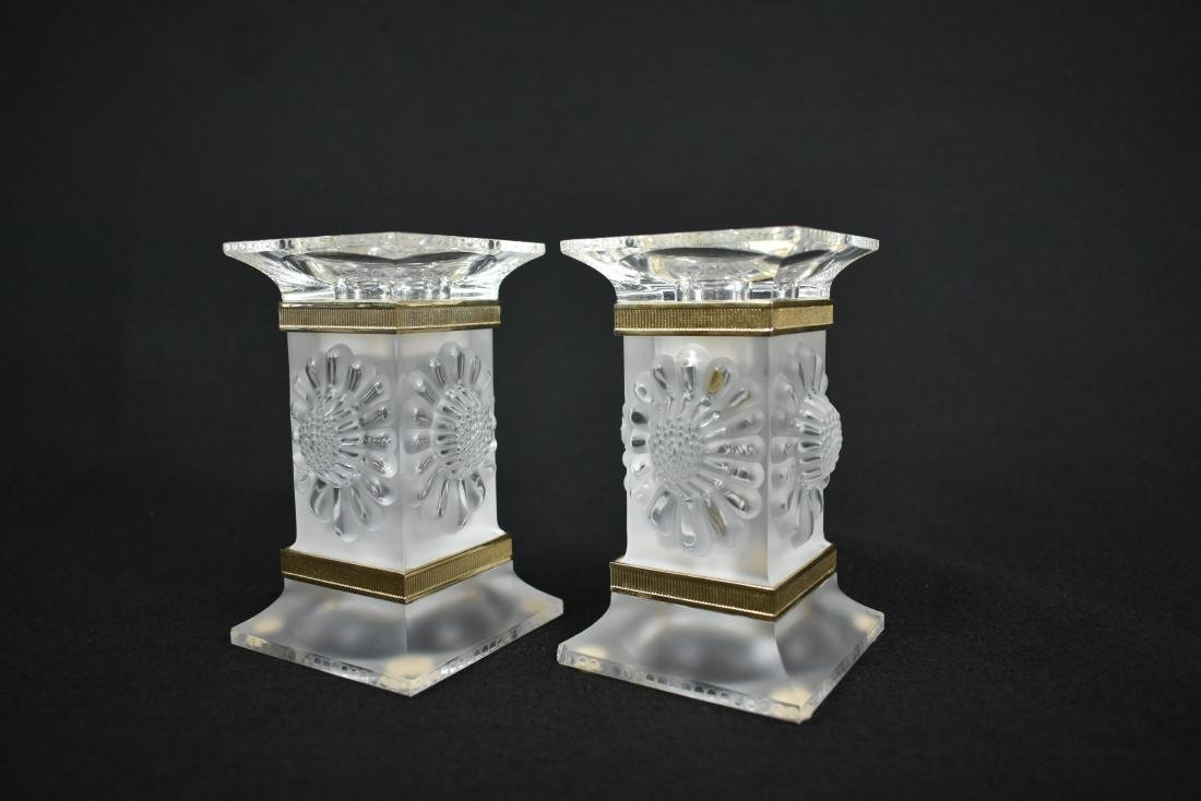 PR LALIQUE GILT MOUNTED FROSTED GLASS CANDLESTICKS - 3