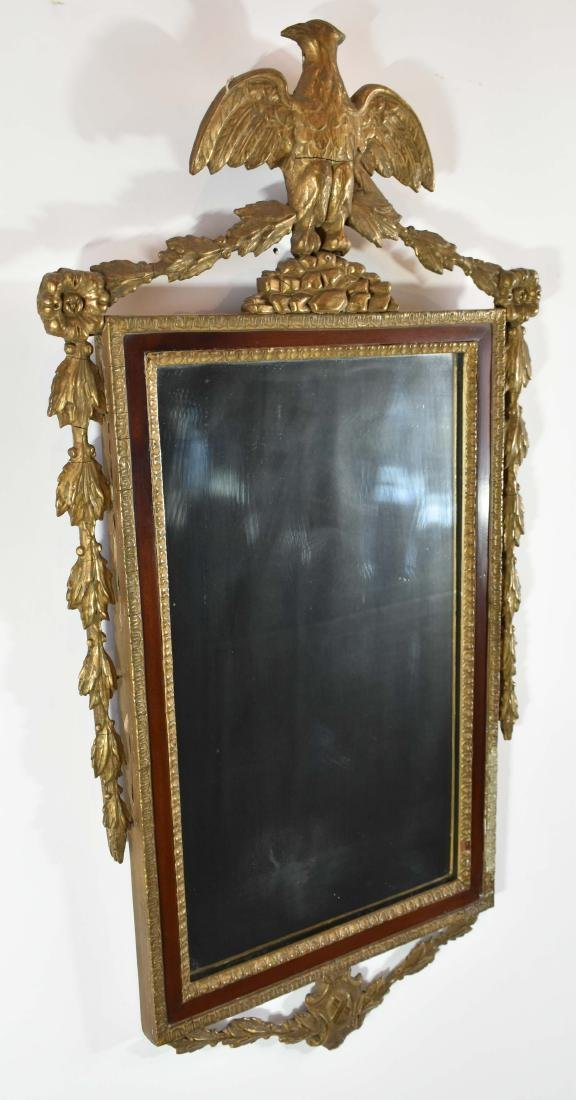 COLONIAL REVIVAL GILT WOOD & MAHOGANY MIRROR