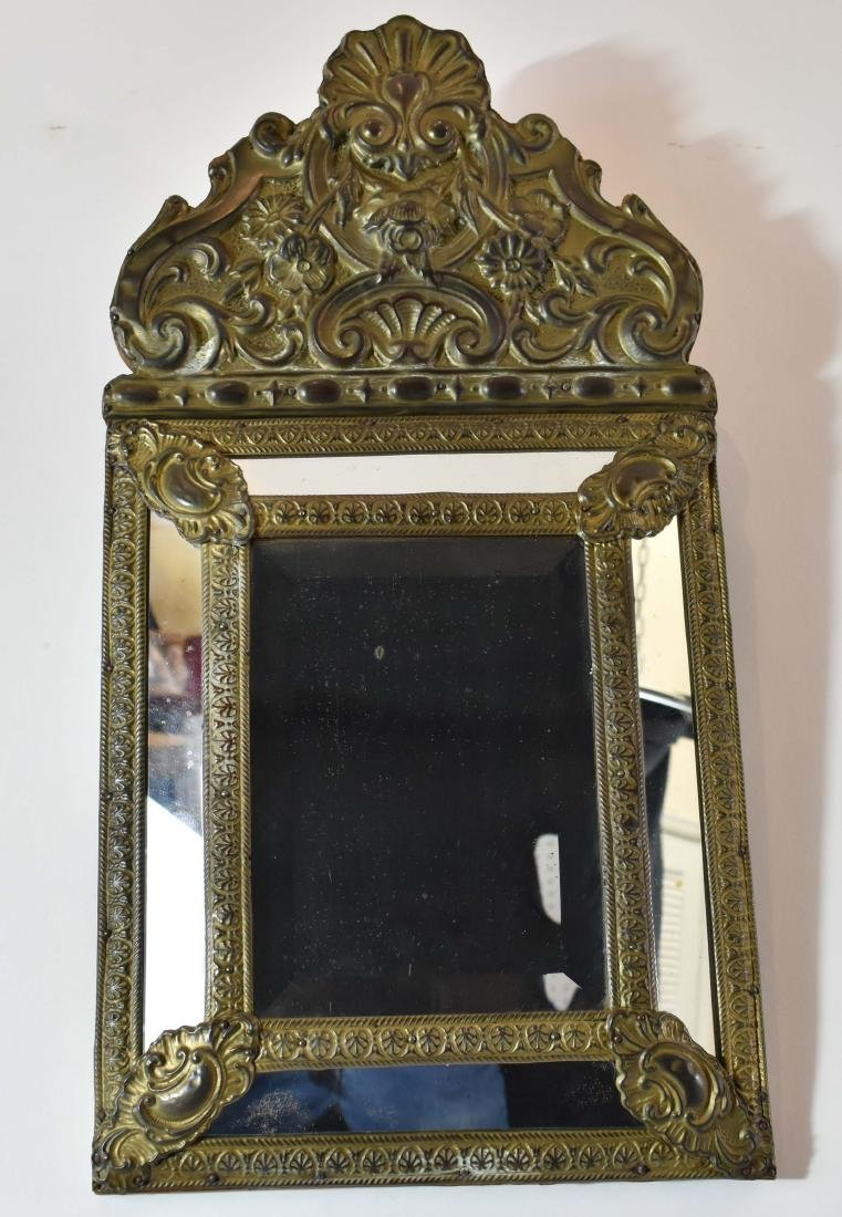 DUTCH BAROQUE STYLE BRASS MIRROR