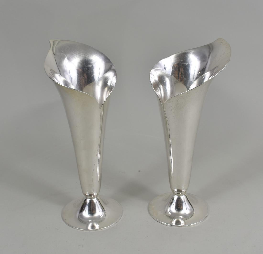 PAIR OF AMERICAN STERLING SILVER FLORAL-FORM VASES