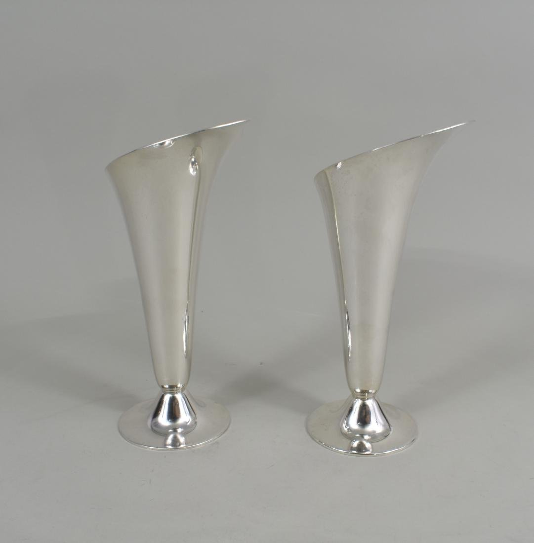 PAIR OF AMERICAN STERLING SILVER FLORAL-FORM VASES - 3