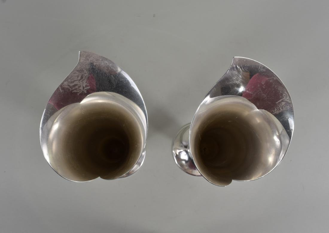 PAIR OF AMERICAN STERLING SILVER FLORAL-FORM VASES - 4