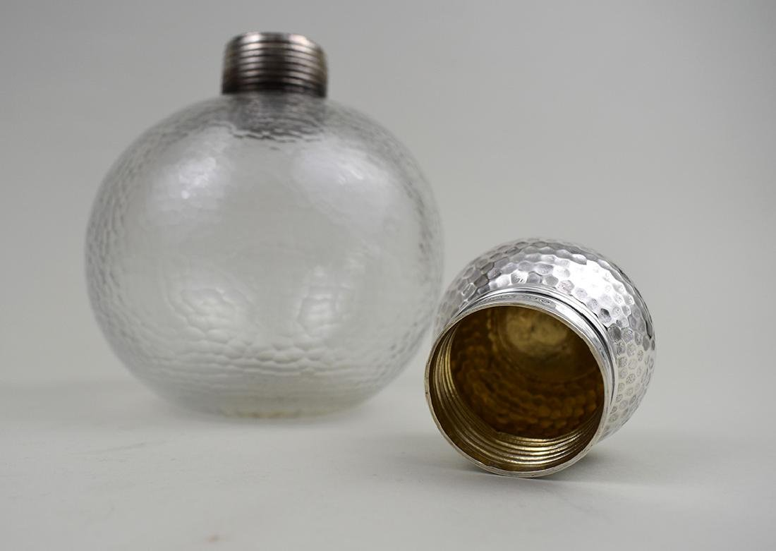 PAIR OF EDWARDIAN SILVER-MOUNTED GLASS BOTTLES - 3