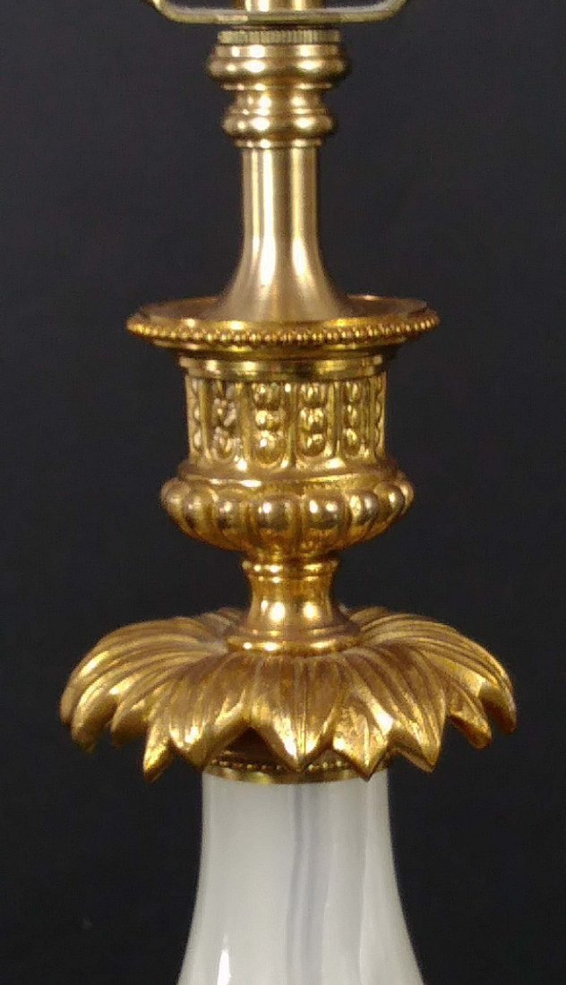 PAIR OF GILT BRONZE MOUNTED ONYX TABLE LAMPS - 2