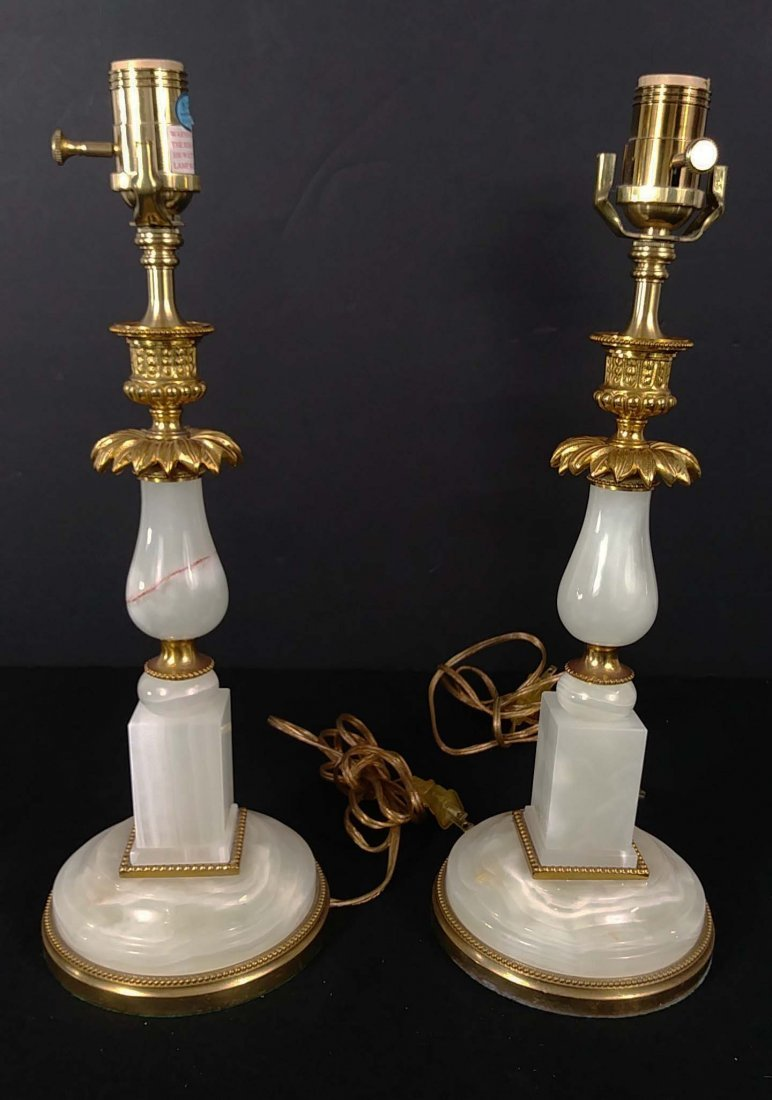 PAIR OF GILT BRONZE MOUNTED ONYX TABLE LAMPS - 5