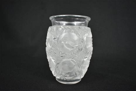 LALIQUE COLORLESS PART FROSTED OVOID VASE