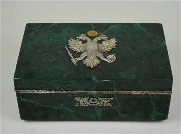 FINE RUSSIAN NEOCLASSICAL SILVER-MOUNTED MALACHITE BOX