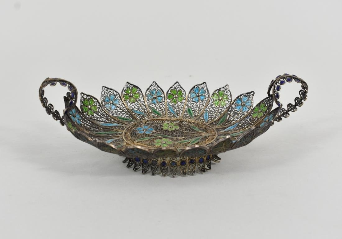 TURKISH ENAMEL AND SILVER FILIGREE FOOTED TRAY