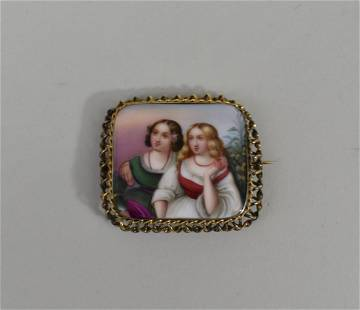 CONTINENTAL PAINTED PORCELAIN BROOCH