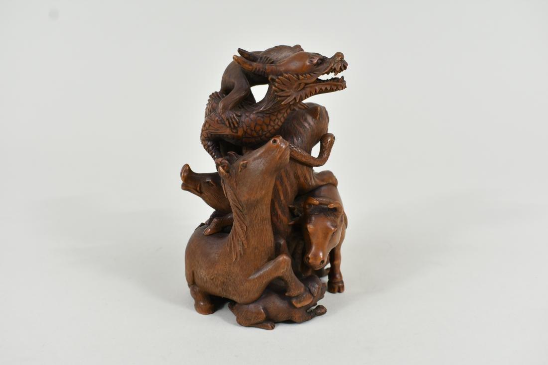 JAPANESE CARVED WOOD ASTROLOGICAL ANIMAL GROUP - 4