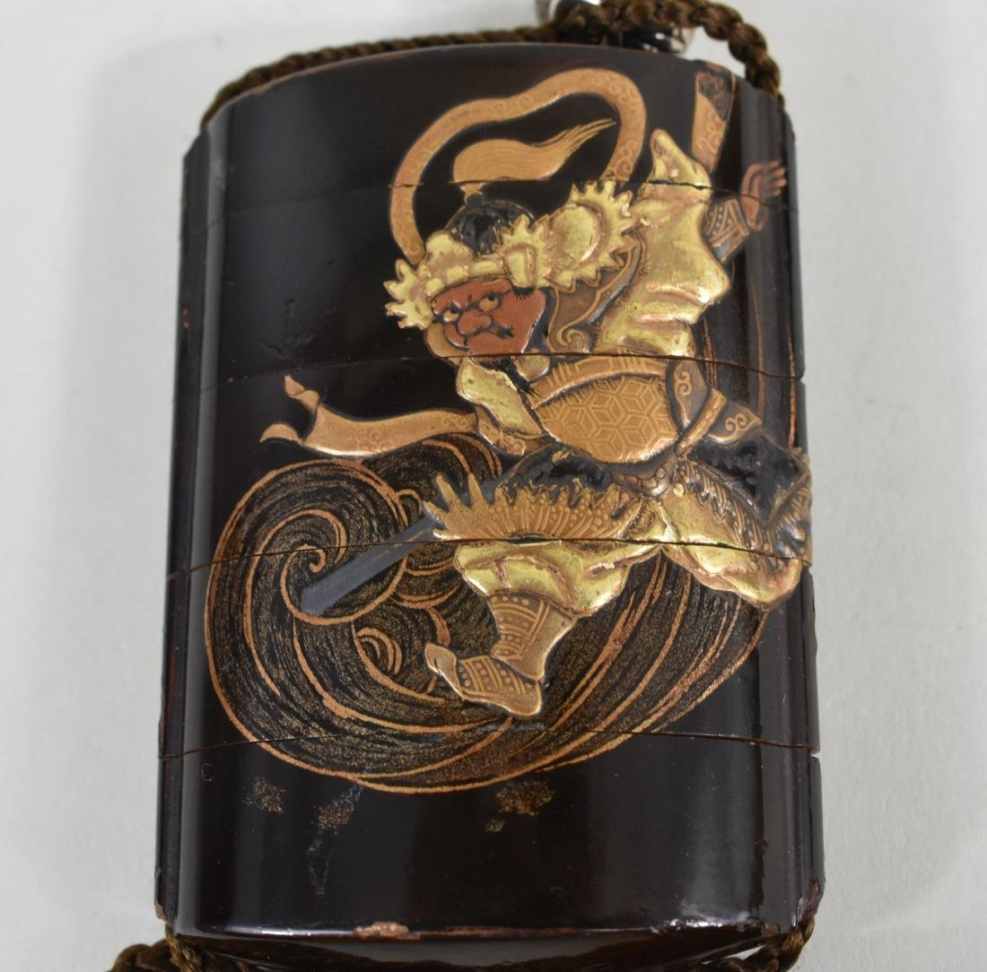 JAPANESE GILT AND BLACK LACQUER INRO - 4