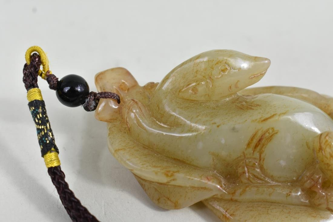 CHINESE CELADON JADE STUDY OF A DOG AND PUP - 4