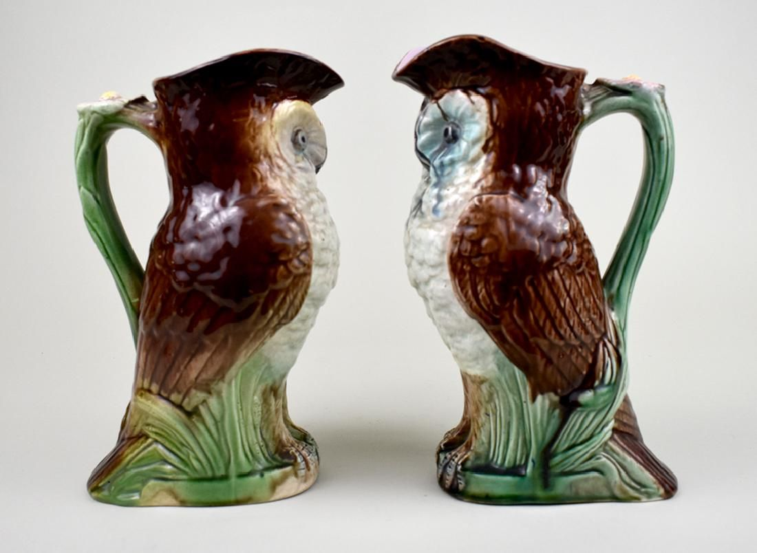 TWO MAJOLICA OWL-FORM PITCHERS