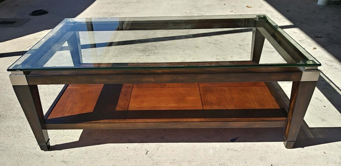MODERN GLASS AND WOOD COCKTAIL TABLE