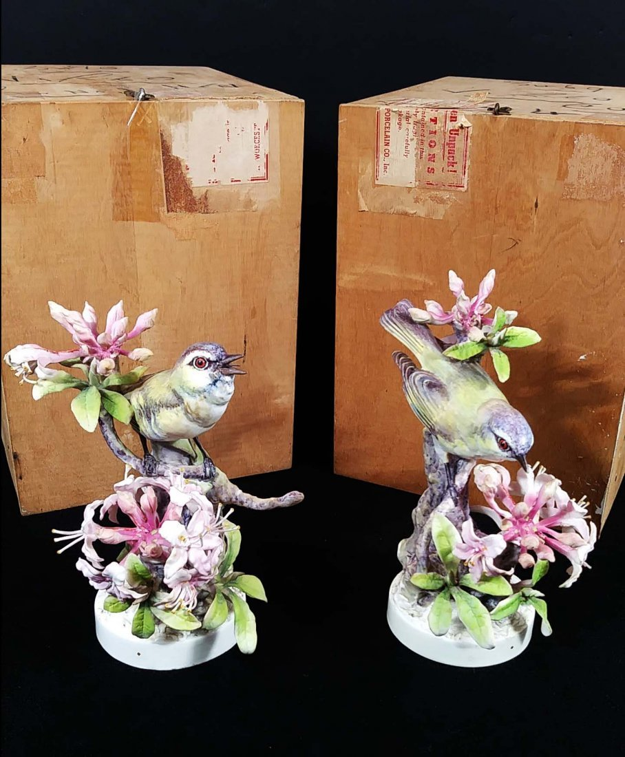 PAIR OF ROYAL WORCESTER RED-EYED VIREOS