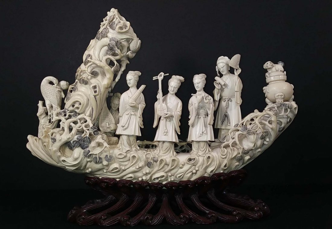 CHINESE CARVING OF FIVE MUSICIANS
