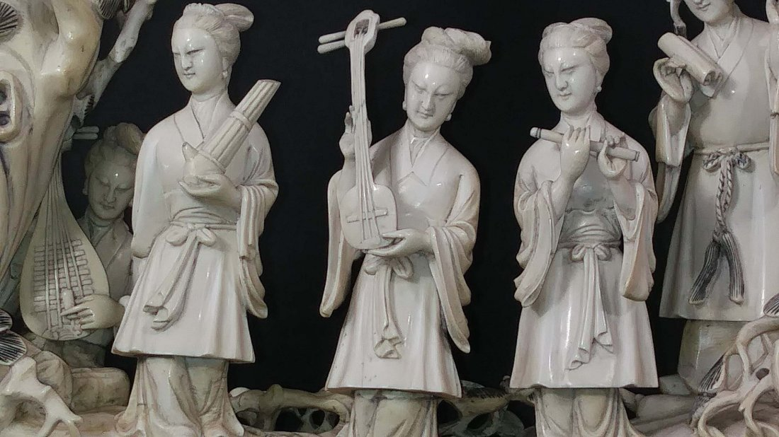 CHINESE CARVING OF FIVE MUSICIANS - 2