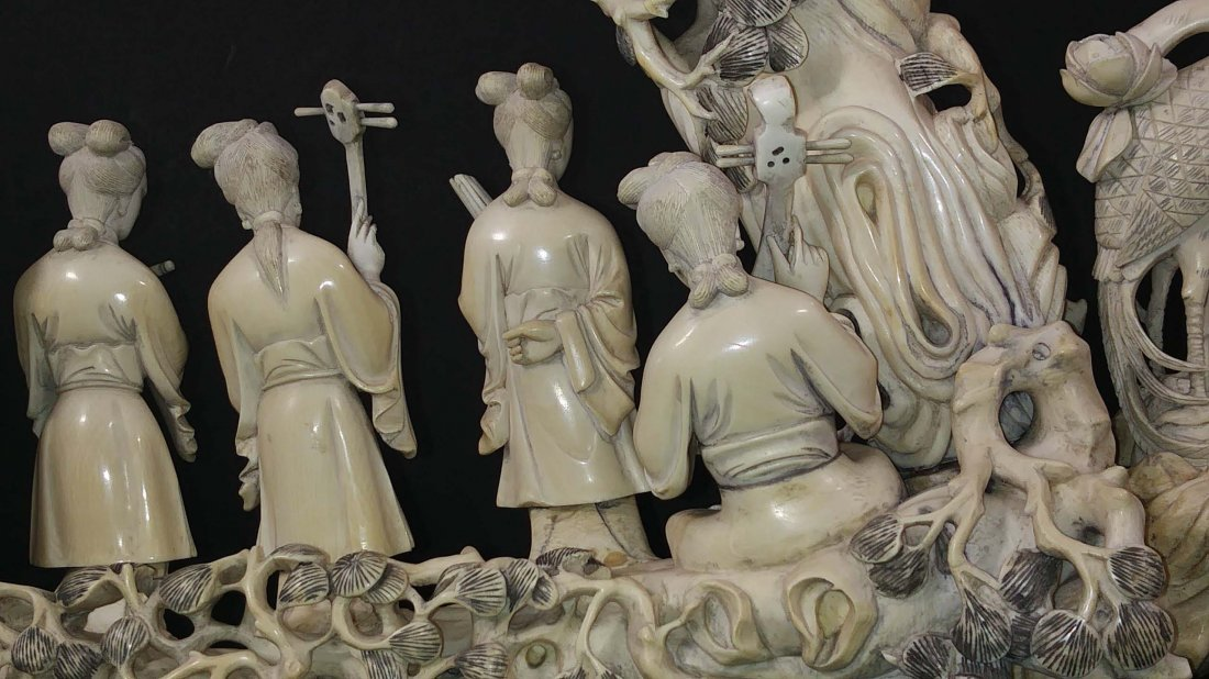 CHINESE CARVING OF FIVE MUSICIANS - 4