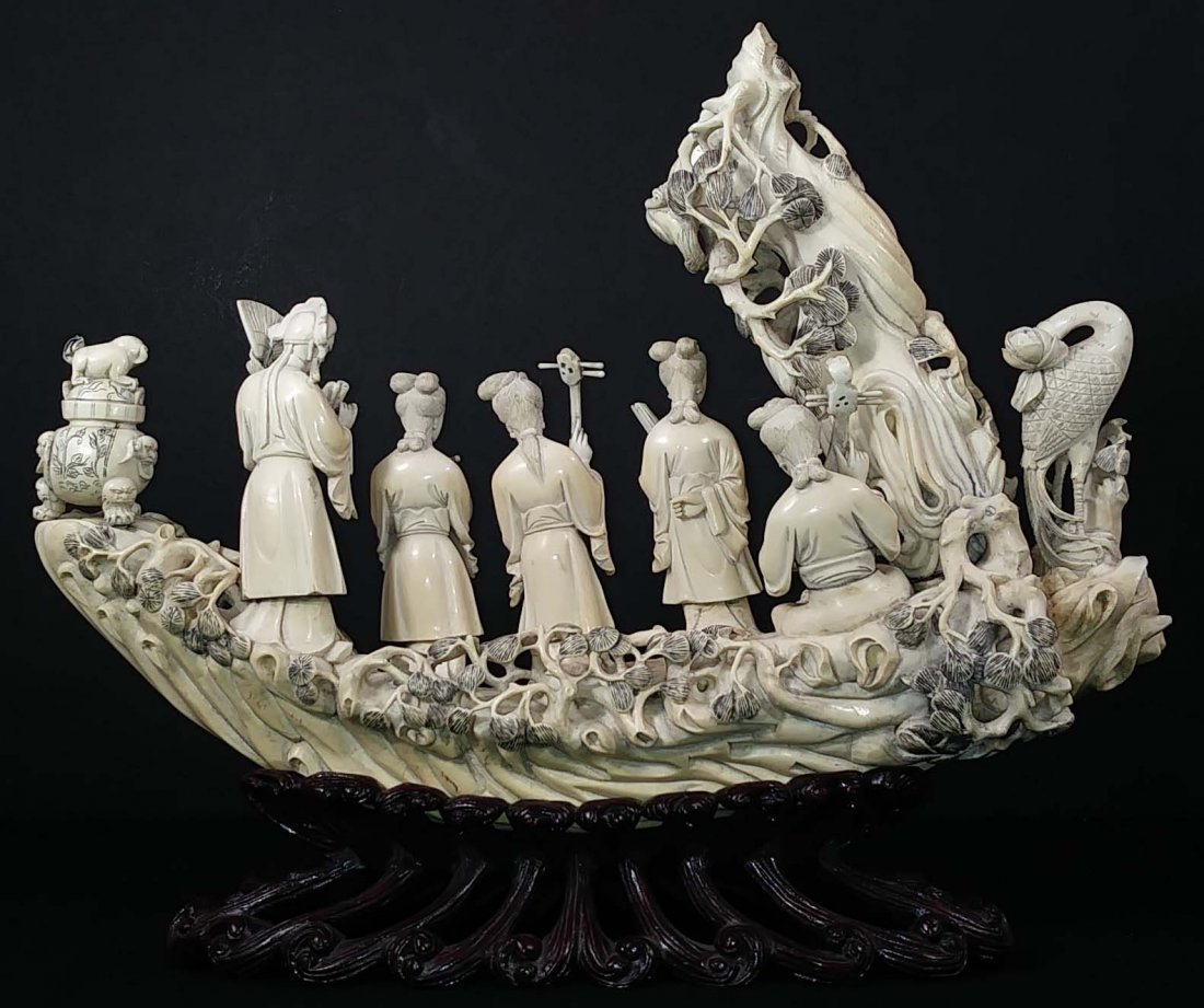 CHINESE CARVING OF FIVE MUSICIANS - 5