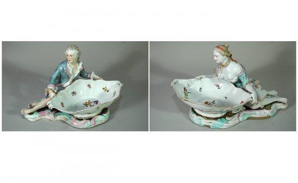 1: Pair of Rare Dresden Porcelain Figural Sweet Meat Di