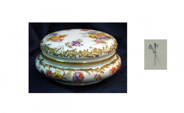 3: Porcelain Covered Vanity Covered Box with hand-paint