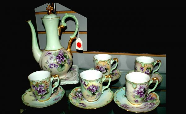 4: Limoges Hand-Painted Floral Small Teapot