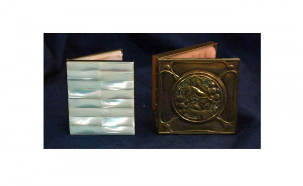 6: Two (2) Antique Ladies Compacts: Brass Compact decor