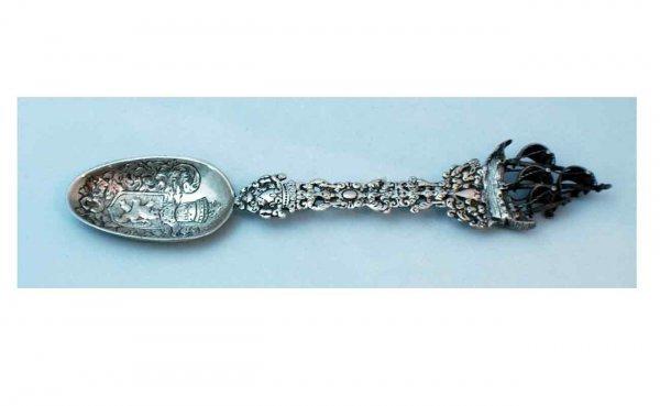 7: Antique 800 Silver Dutch Decorative Serving Spoon wi