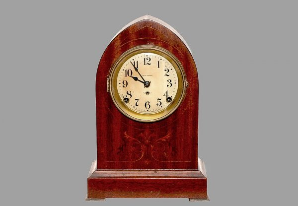 8: Seth Thomas Bee Hive Case Marquetry Clock. Measures