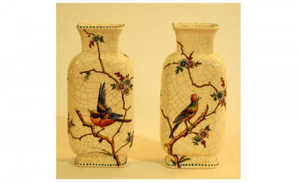 9: Pair Antique Hand-Painted Vases with crackle finish