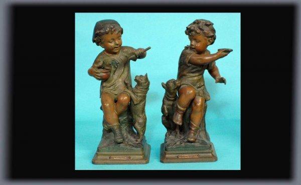 12: J Pilet Pair of Antique Painted Spelter Children