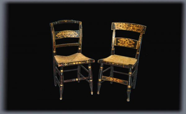 15: Pair of Antique Hitchcock Stenciled Chairs with Rus