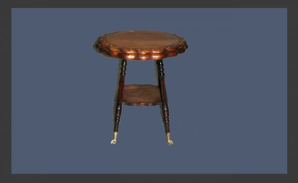 16: Antique Table with Carved Stylized Trim at Top.  Fo