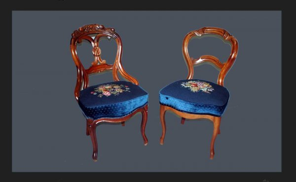 17: Pair Victorian Needlepoint Carved Side Chairs
