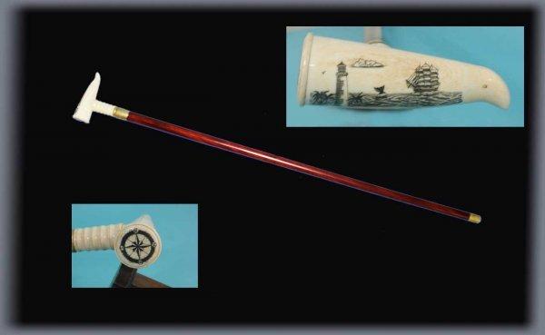 20: Bone Handled Carved Scrimshaw Walking Stick