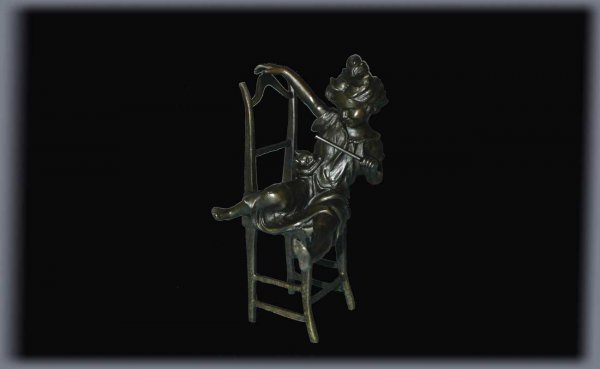 21: Bronze Sculpture of Seated Girl and Cat Signed