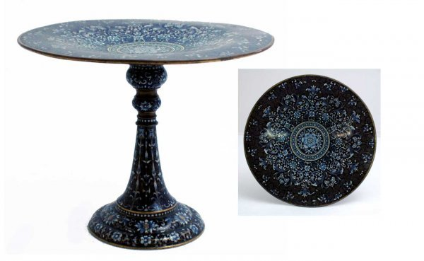 22: Antique Continental Enamel Over Brass Compote with
