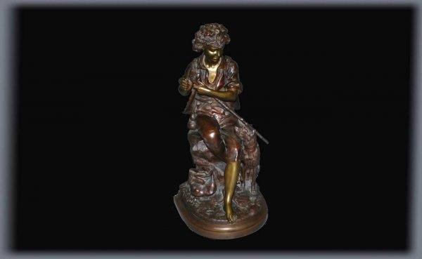 163: Eugene Antoine Aizelin Bronze Sculpture Signed