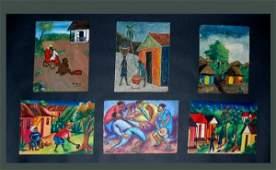 239: 6 20th C Haitian Paintings O/B Signed Various Art