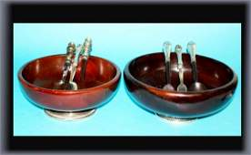 298 3 Salad Sets with 2 Sterling  Wooden Bowls
