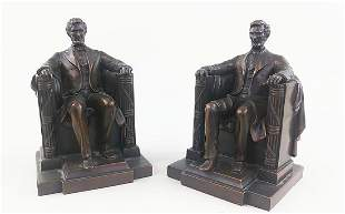 PAIR OFCOPPER FINISH BOOKENDS OF ABRAHAM LINCOLN