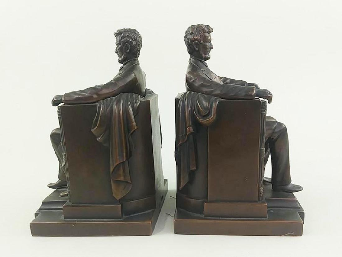 PAIR OFCOPPER FINISH BOOKENDS OF ABRAHAM LINCOLN - 2