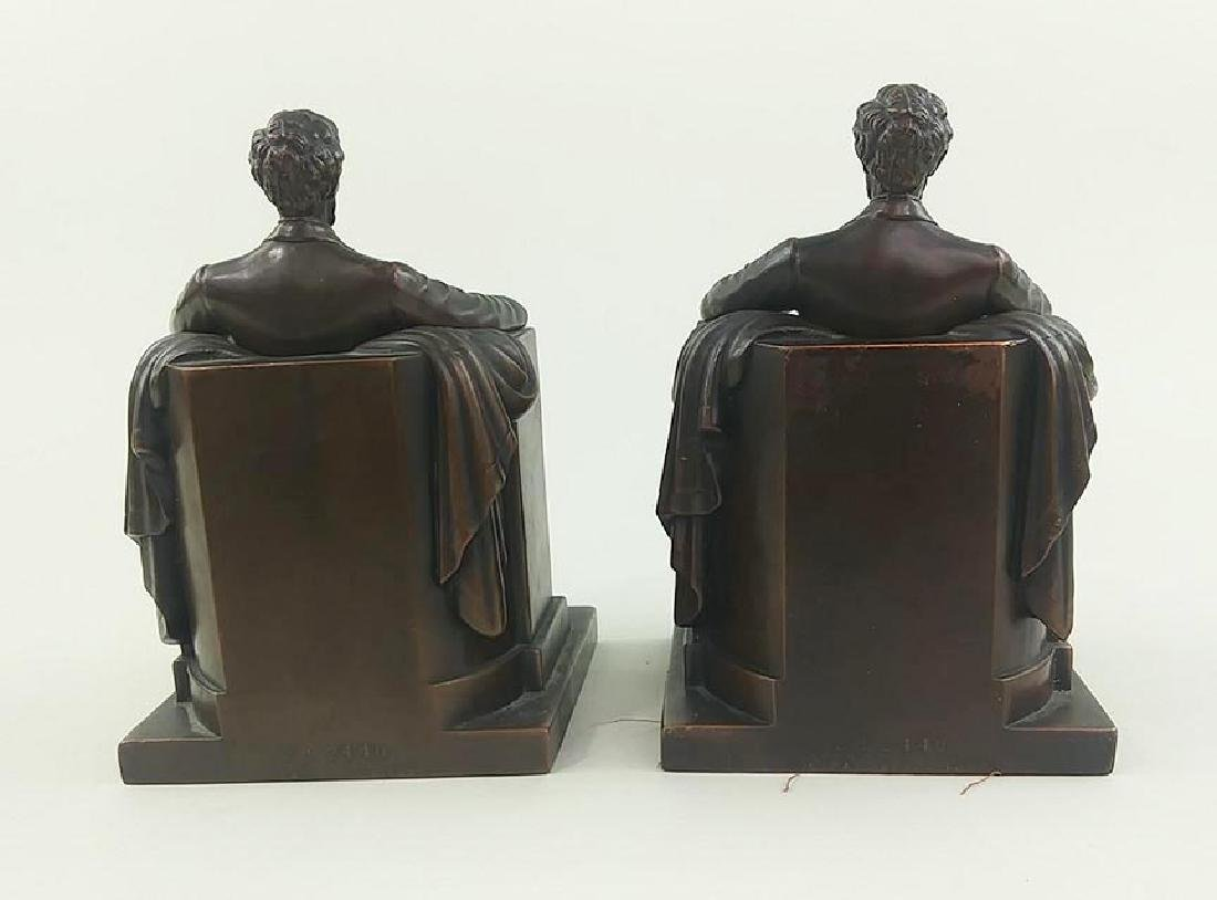 PAIR OFCOPPER FINISH BOOKENDS OF ABRAHAM LINCOLN - 3