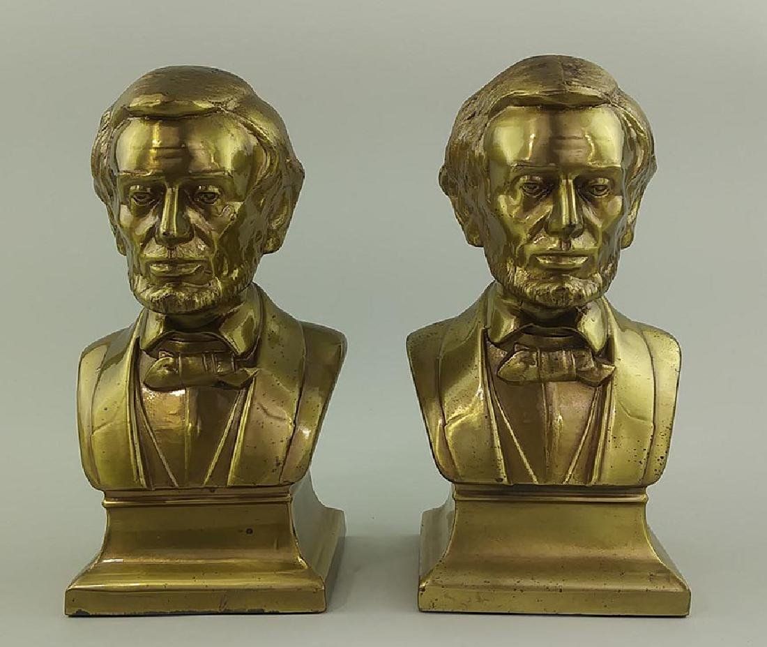PAIR OF BRASS CAST METAL BUSTS OF ABRAHAM LINCOLN