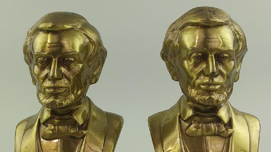 PAIR OF BRASS CAST METAL BUSTS OF ABRAHAM LINCOLN - 2