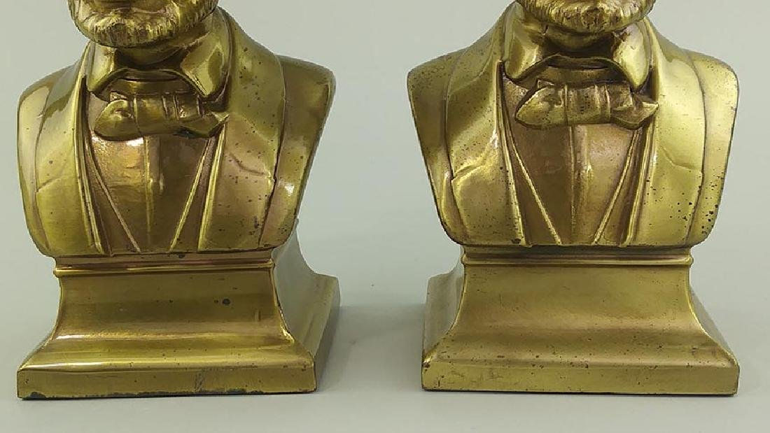 PAIR OF BRASS CAST METAL BUSTS OF ABRAHAM LINCOLN - 3