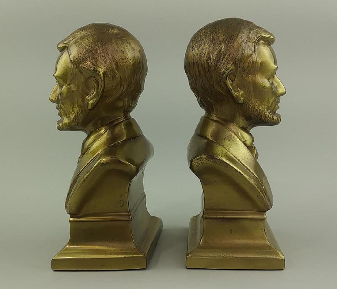 PAIR OF BRASS CAST METAL BUSTS OF ABRAHAM LINCOLN - 4