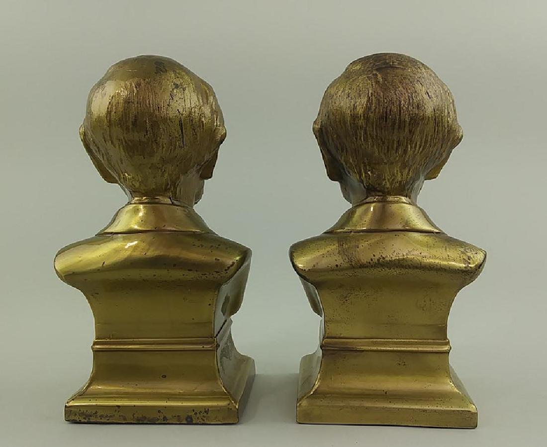 PAIR OF BRASS CAST METAL BUSTS OF ABRAHAM LINCOLN - 5