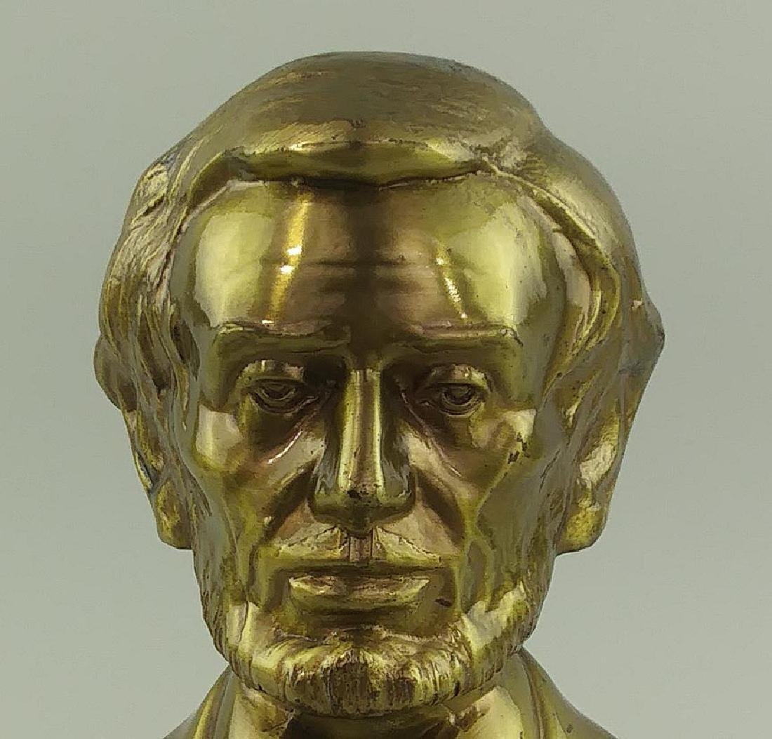 PAIR OF BRASS CAST METAL BUSTS OF ABRAHAM LINCOLN - 6